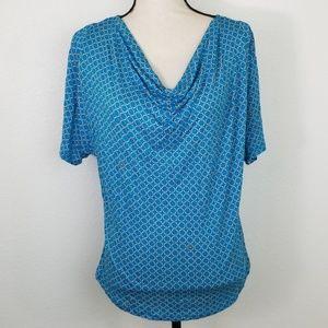MICHAEL KORS Turquoise & White Top, size L